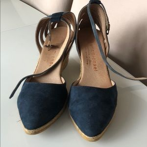 Eric Michael Navy Suede Espadrille Wedge Size 39